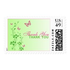 Pink, Green Floral, Butterflies Thank You Postage