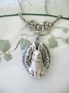 Bunny LOCKET Silver Locket Necklace Bunny Locket by CharmedValley