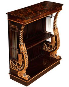 Regency Period Lyre End Console Table, having a faux marble top and gilt stencilled frieze above a faux rosewood frame, raised on carved and parcel gilt lyre supports with brass stringing and fitted with one shelf, on a plinth base. English c.1820