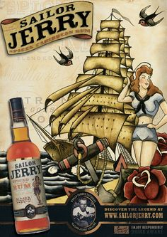 Promotion poster for Sailor Jerry Rum. Merchant Navy, Merchant Marine, Happy Hour Party, Party Time, Sailor Jerry Rum, Cigar Art, Pirate Life, Spiced Rum, Ink Pen Drawings
