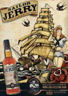 Promotion poster for Sailor Jerry Rum. Merchant Navy, Merchant Marine, Vintage Signs, Vintage Art, Sailor Jerry Rum, Happy Hour Party, Cigar Art, Ink Pen Drawings, Spiced Rum