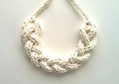 Upcycled T Shirt Yarn Braided Necklace