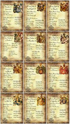 Wicca Zodiac Correspondences - Book of Shadows 12 prints