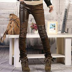 Vintage Leather Spliced Women Jeans