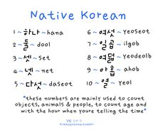 Korean numbers. I used these when I counted while teaching my classes..