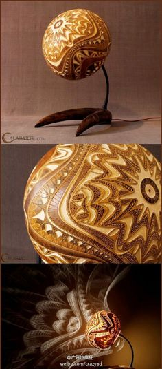 Carved and dried gourd lamp.