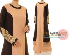 Brown Earth Tones Layered Lace Long Sleeved by Tailored2Modesty