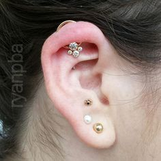 Rose gold ring and cluster upgrade for this year healed orbital. (at Precision Body Arts - tattoo & piercing studio) Ear Jewelry, I Love Jewelry, Body Jewelry, Jewelry Box, Jewellery, Orbital Piercing, Piercing Studio, Body Mods, Body Art Tattoos