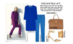 Teaming a sleek tunic over trousers in strong colour block and accessorised with neutral style.