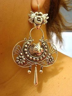 TAXCO MEXICAN STERLING SILVER FRIDA KAHLO-INSPIRED DESIGN DECO EARRINGS MEXICO | eBay