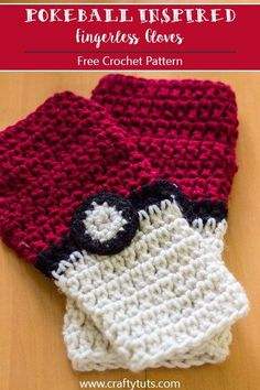 Pokeball Inspired Fingerless gloves Free Crochet Pattern. For all the pokemon…