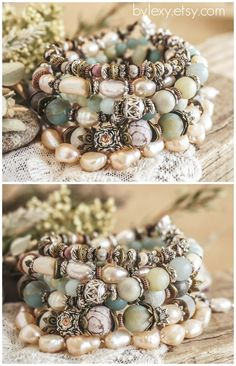 "Set of 5 Boho ""Dusty  Set of 5 Boho ""Dusty Vanilla""Wrap Pearl Bracelets, Bohemian Victorian Gypsy Chic Rustic Earthy Floral Stack Multilayer Bracelets Gift ByLEXY"