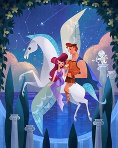 Hercules, Megara and Pegasus by Joey Chou by on DeviantArt Disney Pixar, Disney Fan Art, Disney Animation, Walt Disney, Disney E Dreamworks, Disney Artwork, Disney Drawings, Disney Movies, Disney Characters