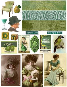 Green Vintage Collage Sheet ~ Flickr Photo Sharing!