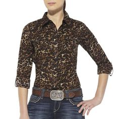 Printed on poplin, a high-fashion leopard print makes this shirt exciting.  Finished with snaps on front placket, pockets and roll-up sleeves with tabs, the Ariat® women's shirt  has versatile western styling.
