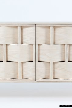 Weave Cupboard by Lukas Dahlen, inspired by the most common type of wood and weaving technique, but in a larger scale.