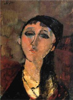 Amedeo Modigliani (1884 -1920) | Expressionism | Portrait of a Young Girl (Louise) - 1915