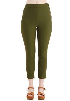 Myrtlewood A Chic Start Pants in Olive   Mod Retro Vintage Pants   ModCloth.com