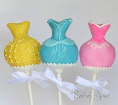Disney princess dress Cake Pops - Pink Blue Yellow Princess Dress.