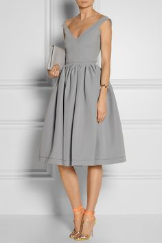 Preen by Thornton Bregazzi Flo satin-crepe dress in dove gray.
