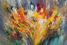 """Increase XL 2  Contemporary art. Acrylic painting on canvas     Size of this vital, yellow colorful abstract painting: 61.0""""w x 41.3""""h x 1.5""""d"""
