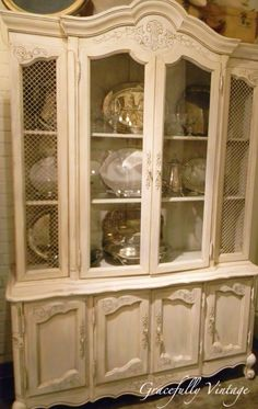 Antique Finish China Hutch with chicken wire in glass