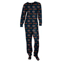 Dear Santa, I want this!! Chicago Bears Women's Navy One-Piece Footie Pajamas Suit