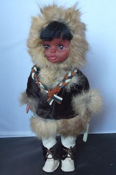 Eskimo Doll  Real Fur and Leather Clothes by OnceAgainTreasure