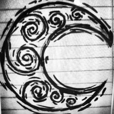 moon tattoo-with knot worn instead of swirls