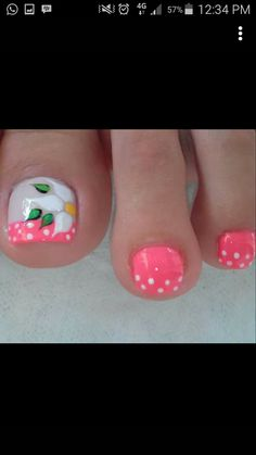 Pretty Nail Colors, Pretty Nail Designs, Simple Nail Art Designs, Toe Nail Designs, Pedicure Nail Art, Toe Nail Art, Nail Manicure, Karma Nails, Flower Pedicure Designs