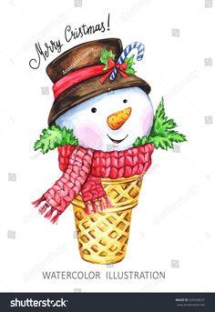 Christmas Images, Christmas Art, All Things Christmas, Christmas Ornaments, Christmas Illustration, Cute Illustration, Watercolor Illustration, New Year Symbols, Autumn Art