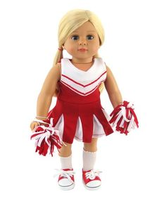 795999a33 Red   White Cheerleader Outfit for 18   Doll by American Fashion World   zulily
