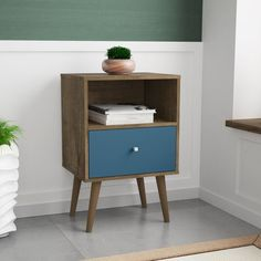 coastal bedrooms Manhattan Comfort - Liberty Mid Century Modern Nightstand w/ 1 Cubby Space & 1 Drawer in Rustic Brown & Aqua Blue The perfect blend of style, functionality Modern Bedside Table, Modern Bedroom Furniture, Small Furniture, Home Furniture, Bedside Tables, Furniture Ideas, Wood Nightstand, Nightstands, Houses