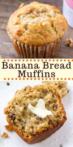 Banana bread muffins are moist, fluffy and filled with big banana flavor. It's a… Banana bread muffins are moist, fluffy and filled with big banana flavor. It's an easy, no mixer recipe that makes perfect banana muffins every time. Healthy Banana Bread, Healthy Muffins, Banana Bread Recipes, Moist Banana Muffins, Banana Bread Cupcakes, Banana Breakfast Recipes, Recipes For Bananas, Easy Breakfast Muffins, Breakfast Healthy