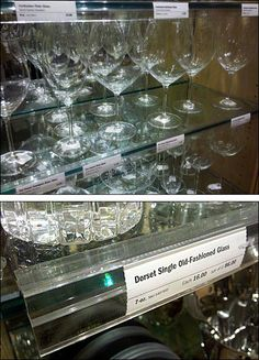 Clear Label Glass-Shelf Holder for Glassware Crystal Glassware, Glass Crystal, Clear Labels, Shelf Holders, Old Fashioned Glass, Glass Shelves, Graphic Design, Wine, Display