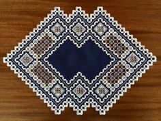 Navy Blue & Greys Hardanger Piece Hardanger Embroidery, Cross Stitch Embroidery, Embroidery Patterns, Drawn Thread, Brazilian Embroidery, Needle Lace, Cutwork, Bargello, Blackwork