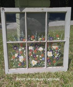 Old WindowsPainted Old WindowsALL Windows Sold Custom image 6 Glass Wall Art, Stained Glass Art, Old Windows Painted, Wooden Windows, Window Art, Window Ideas, Window Panes, Window Picture, Crushed Glass