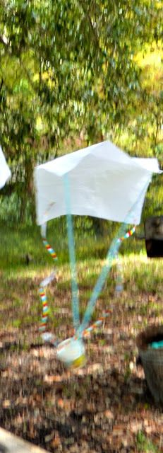 STEM activity, help Charlotte's baby spiders land safely with these student made parachutes.