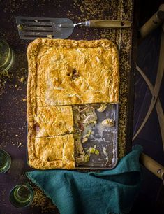 Feed a very hungry crowd with this beast of a slab pie (cooked in one baking tray), flavoured with streaky bacon, chicken thighs, chestnut mushrooms and cream Bacon Recipes, Pie Recipes, Chicken Recipes, Savoury Recipes, Bacon Pie, Bacon Bacon, Chicken And Mushroom Pie, Savory Pastry, Savoury Pies