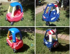 My husband Jef - did this.  A lot of hard work and a lot of fun!!!... He's amazing!!!  DIY Painted Cozy Coupe!!!  Captain America... More Adventure cars to come!