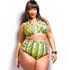 Premadonna Plus Size Bikini Set Top: Snakeskin printed, lime green and gray, caged style, underwire swim top. Padded push up bra for support. Ties around the neck. 4 adjustable Bra like layers snap closure in the back. 82% Polyester, 18% Spandex. Size: 3X  Bottom: Snakeskin printed, lime green, high waist, cut out, bikini bottoms, fits true to size, 82% Polyester, 18% Spandex. Size 3X Plus Size Swim Bikinis