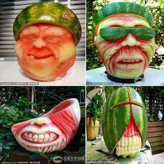 STRANGE FOOD FUN - CREATE 4 DIFFERENT WATERMELON FACES - CREATURES - WOW!
