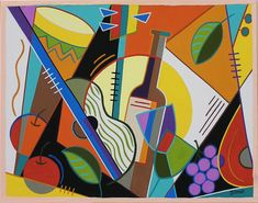 WINE AND SONG  Abstract geometric still life with wine and music. Mid century modern living.  This is a limited edition (200 prints) print by Linda Tillman. It is a print of an original gouache painting. Prints are all printed on archival matte paper. They are printed with a Canon iX6500 printer. It has a border. The edges of the composition fade softly into white as they do on the original painting. The print will fit a standard pre-cut matte for easy framing.  The size is 11 x 14 inches…