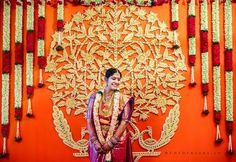 South Indian, Telugu bride and wedding decor Wedding Stage Backdrop, Wedding Stage Design, Wedding Stage Decorations, Wedding Mandap, Backdrop Decorations, Backdrops, Backdrop Ideas, House Decorations, Flower Decorations