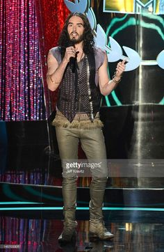 Musican Russell Brand onstage at the 2012 MTV Movie Awards at Gibson Amphitheatre on June 3, 2012 in Universal City, California.