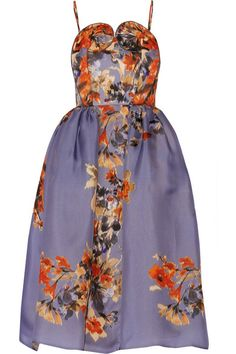 Floral-print silk-gazar dress - DELPOZO