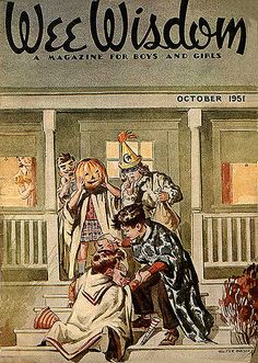 The October 1951 Halloween themed cover of Wee Wisdom magazine. #vintage #1950s #trick_or_treating #kids