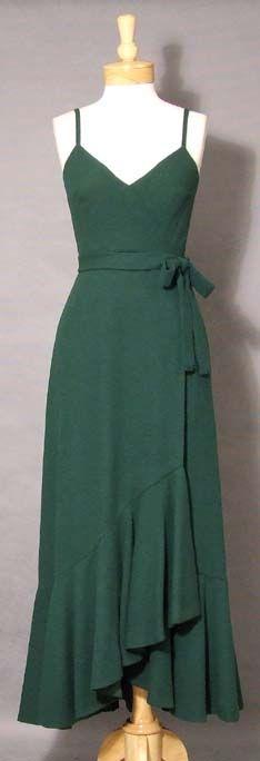 Bill Blass Hunter Green Wool Evening Dress w/ Matching Cape
