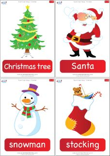 "Set of 36 Christmas flashcards to go with the ""Super Simple Songs - Christmas"" CD. Great for introducing holiday vocabulary and playing games. #preK #Kindergarten #ESL"