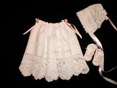 Embroidered Pillowcase Dress for Babies and Toddlers with Matching Bonnet
